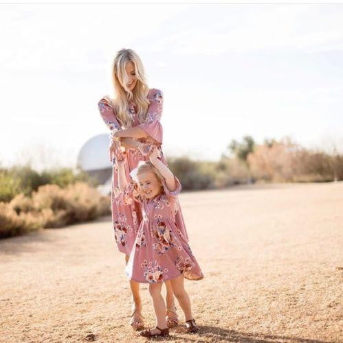 Summer Family cotton Clothes Mother Daughter Sundress, Women Kids Girls Dress - Mimi's Eco Fashions