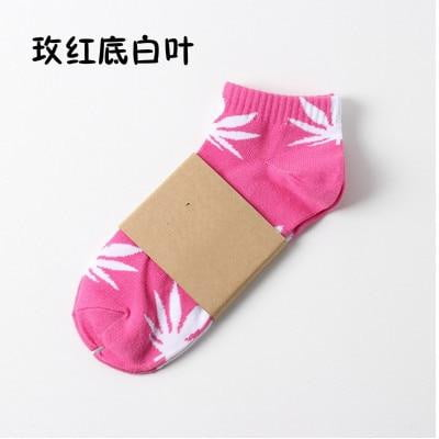 Ladies socks funny pattern hemp cotton socks unisex maple leaf - Mimi's Eco Fashions
