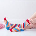 Colorful Stripes Pattern Women's Mid Socks