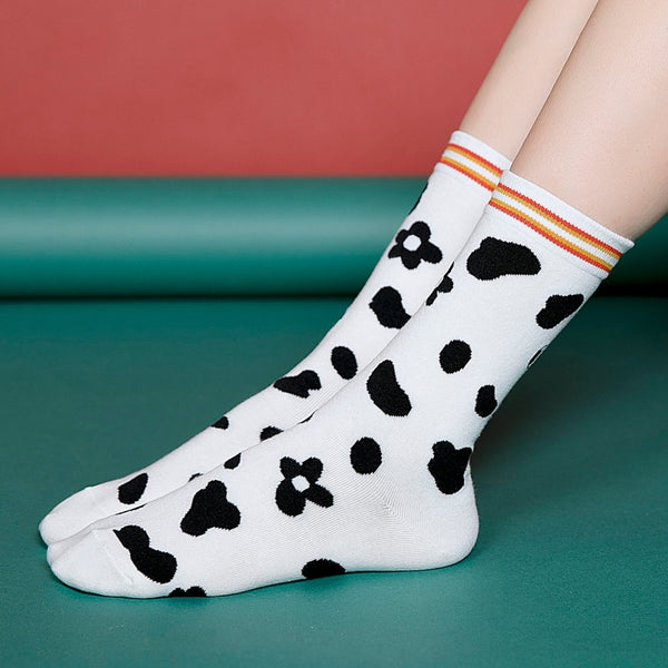 Cow Pattern Cute Women's Mid Socks