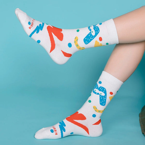 Colorful Letters Women's Mid Socks