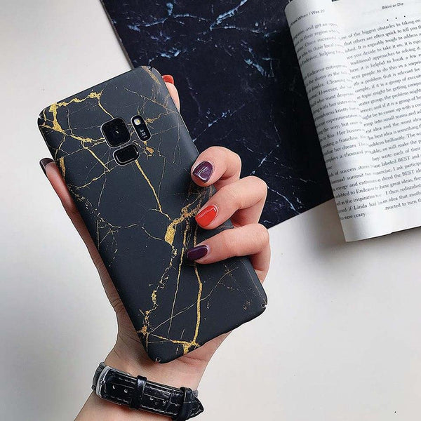 Matte Blue & Black Marble Samsung Galaxy Case