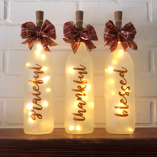 Grateful, Thankful, Blessed Lighted Wine Bottles
