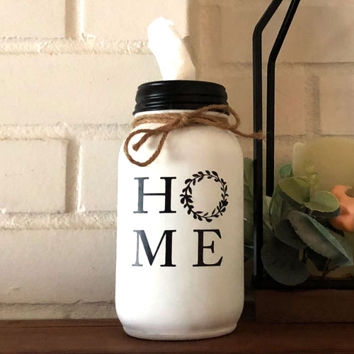 HOME Wreath Mason Jar Tissue Holder