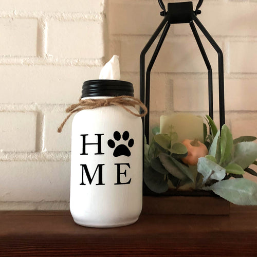 HOME Paw Print Mason Jar Tissue Holder