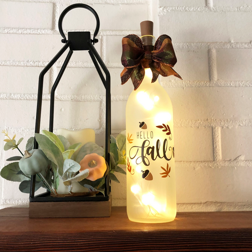 Hello Fall Lighted Wine Bottle