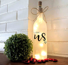 I Love Us Lighted Wine Bottle
