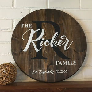 Round Personalized Family Monogram Sign - Brown