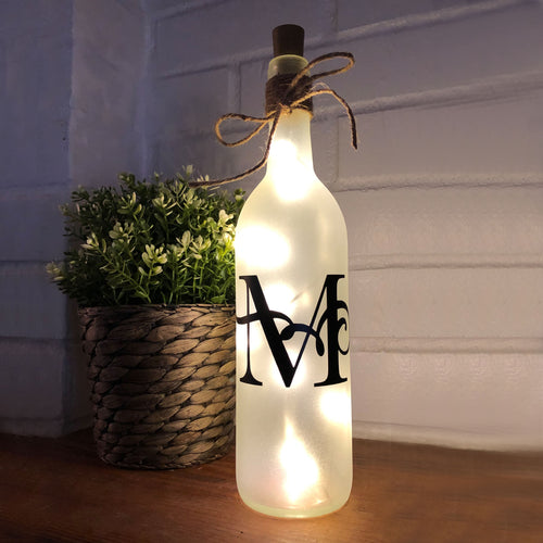 Lighted Monogram Wine Bottle