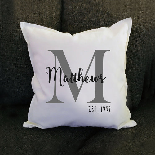 Monogram Family Name Pillow