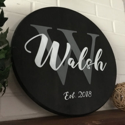 Round Personalized Family Monogram Sign - Black