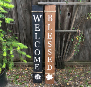 Welcome/Blessed Reversible Porch Sign