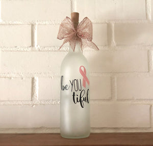 BeYOUtiful Breast Cancer Lighted Wine Bottle