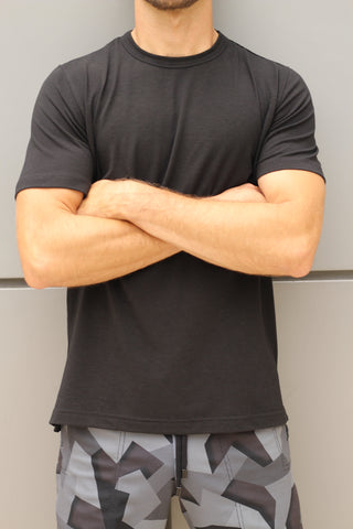 Leisure Lab black T-shirt showing the fit