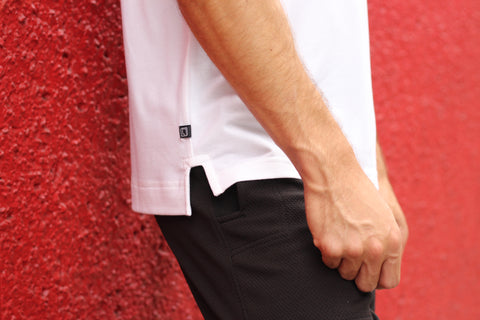 Leisure Lab white T-shirt side seam details