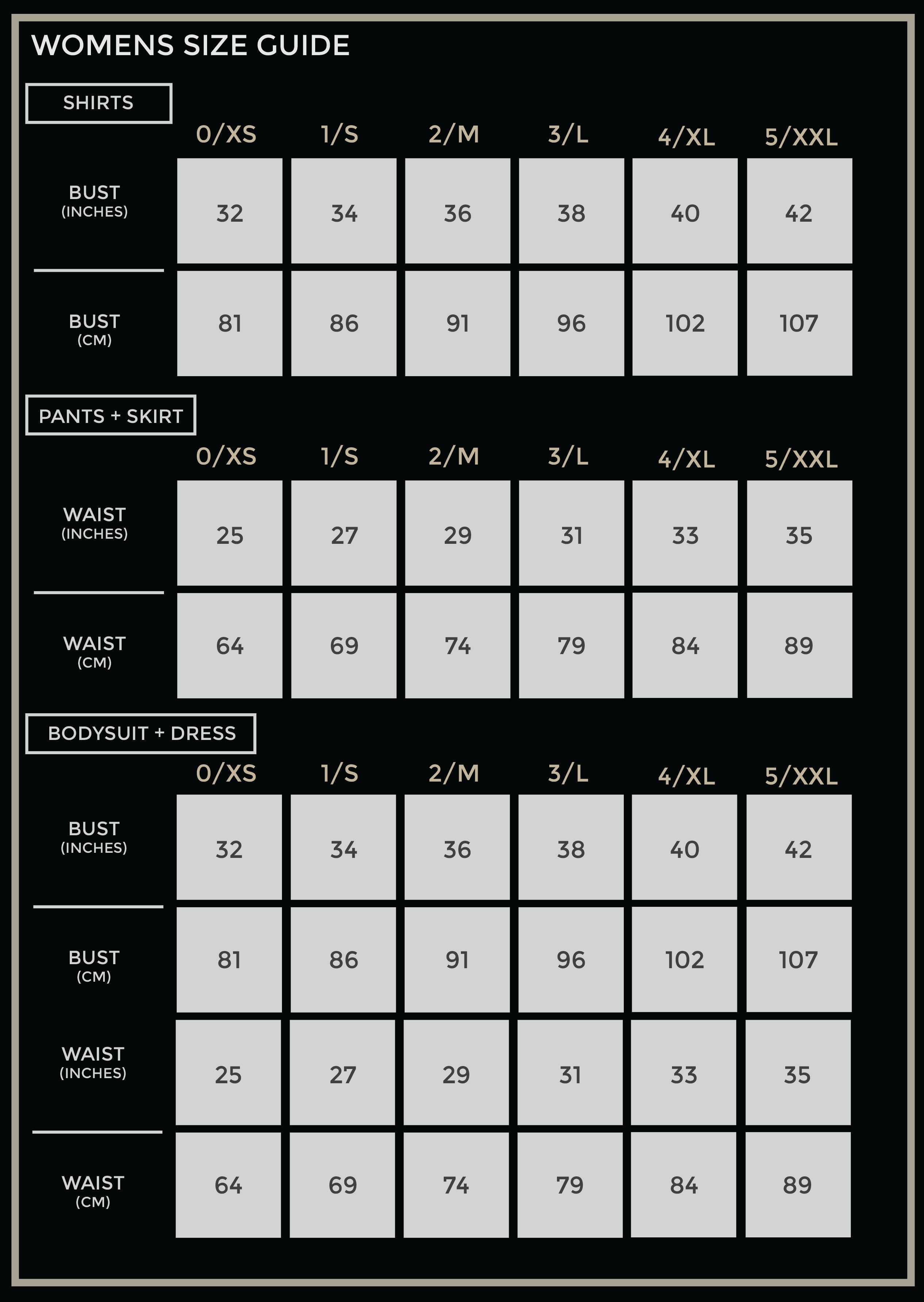 LEISURE LAB WOMENS SIZE CHART
