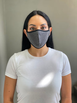 HEATHERED BLACK - T-SHIRT FACE MASK