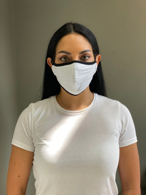 WHITE - T-SHIRT FACE MASK