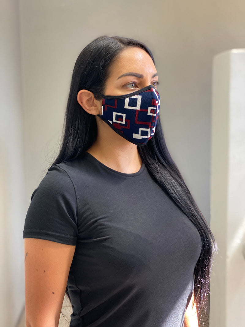 RED SHAPES - FACE MASK