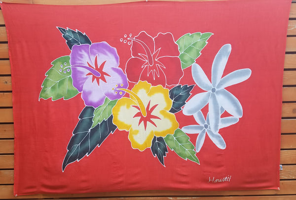 Hand Painted Full Sarong - Hibiscus Tiare Bouquet - Black, Pink, Red, Turquoise