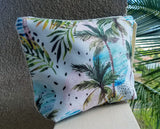 Tropical Print Burlap Clutch Bag