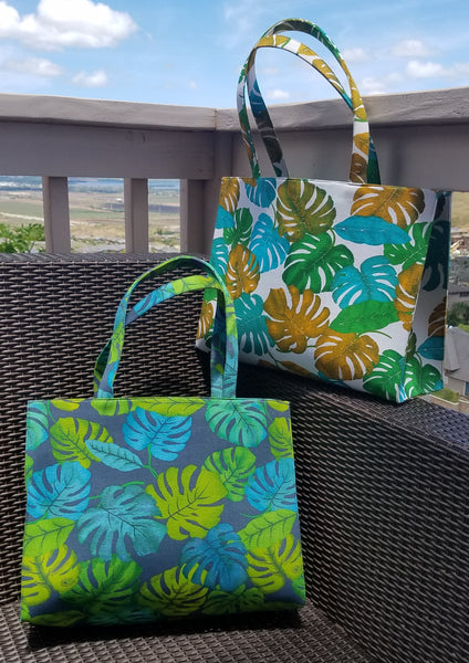 Large Tote Bag in Climbing Monstera Print
