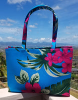 Large Tote Bag in Double Hibiscus Print