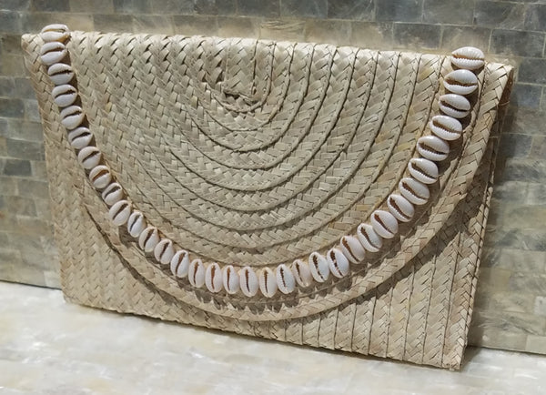 Pandan Clutch Purse Shell Accents