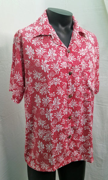 Men's Aloha Shirts - Pineapple Rain - Red