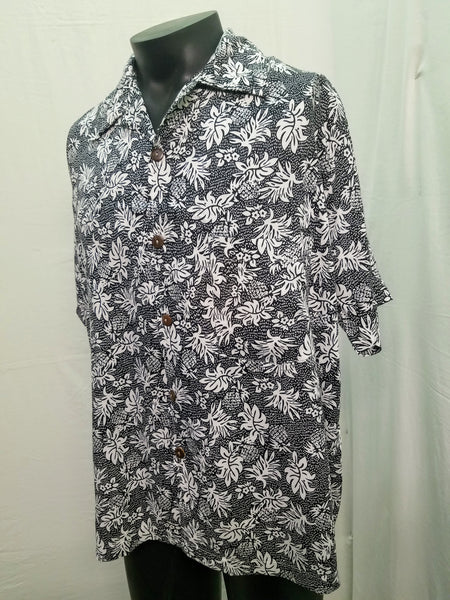 Men's Aloha Shirts - Pineapple Rain - Black
