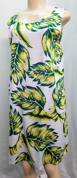 Ladies Noelani A-Line Tank Dress - Waving Palm -- White