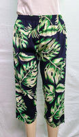 Ladies Capri Pants - Waving Palms - Navy Blue