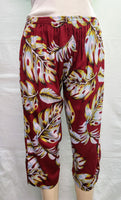 Ladies Capri Pants - Waving Palms - Burgundy