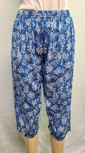 Ladies Capri Pants - Pineapple Rain - Blue