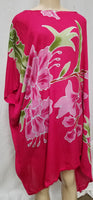 Hand Painted Caftan Poncho - Floral Cluster -  Blue, or Pink