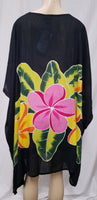 Hand Painted Caftan Poncho - Plumeria Lei - Black, Turquoise, Lime or Pink