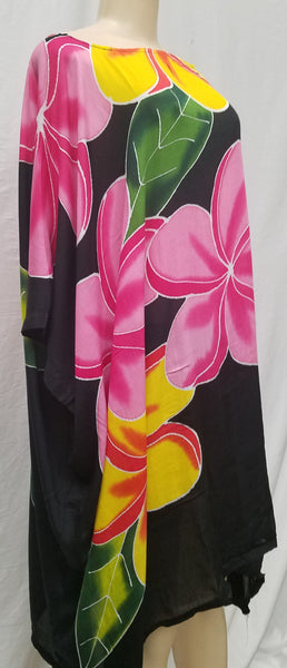Hand Painted Caftan Poncho - Plumeria Beauty - Black, Blue, Red, Turquoise
