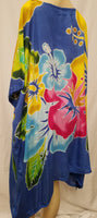 Hand Painted Caftan Poncho - Hibiscus Bouquet - Black, Blue, Pink, Turquoise