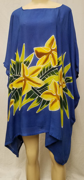 Hand Painted Caftan Poncho - Yellow Star - Black, Blue or Turquoise