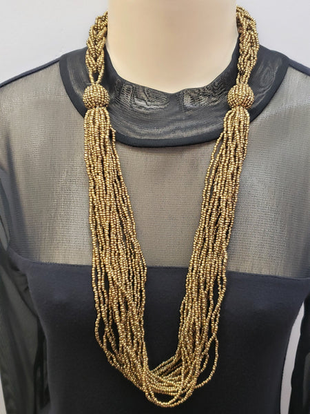 Beaded Necklace - Athena - Gold