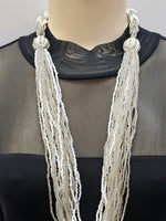 Beaded Necklace - Athena - White Silver