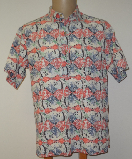 Vintage Avi Kiriaty Kahala Artist Series - Red Fish Men's Aloha Shirt