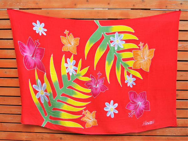 Screen Printed Full Sarong - Fern and Flora - Red