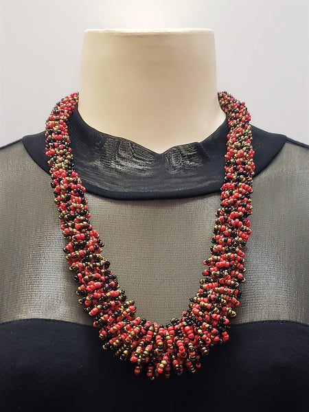 Beaded Necklace - Gaia - Lava