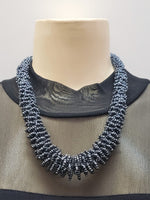 Beaded Necklace - Gaia - Metallic Black
