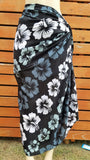 Screen Printed Full Sarong - Hibiscus River - Black, Pink, Purple, Turquoise