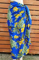 Screen Printed Full Sarong - Hummingbird - Black, Blue, Red