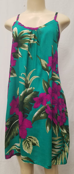Ladies Leilani Dress - Double Hibiscus - Teal