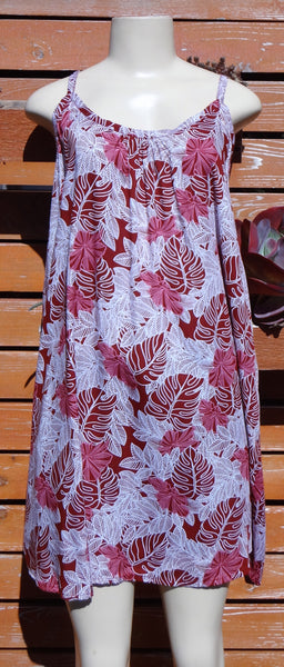 Ladies Leilani Dress - Monstera - Maroon