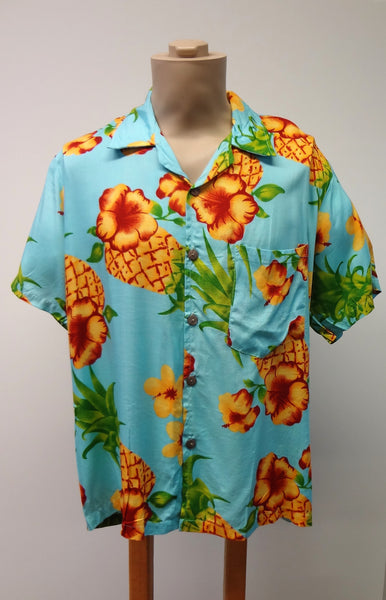 Men's Aloha Shirt - Pineapple - Turquoise